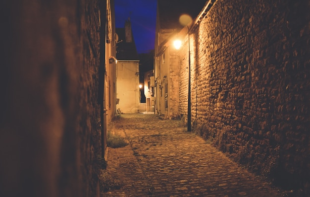 Calle del castillo por la noche iluminada por lámparas.