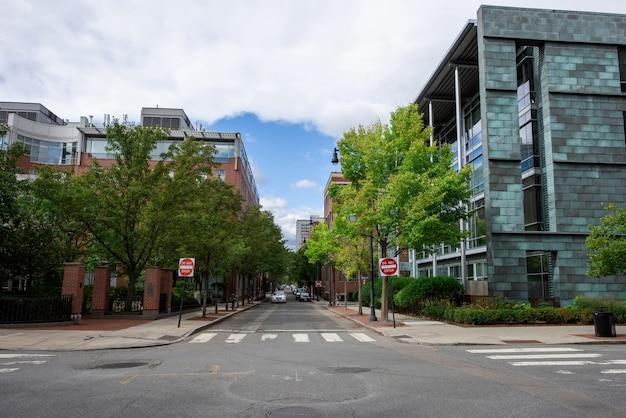 Calle con edificios modernos y árboles verdes.