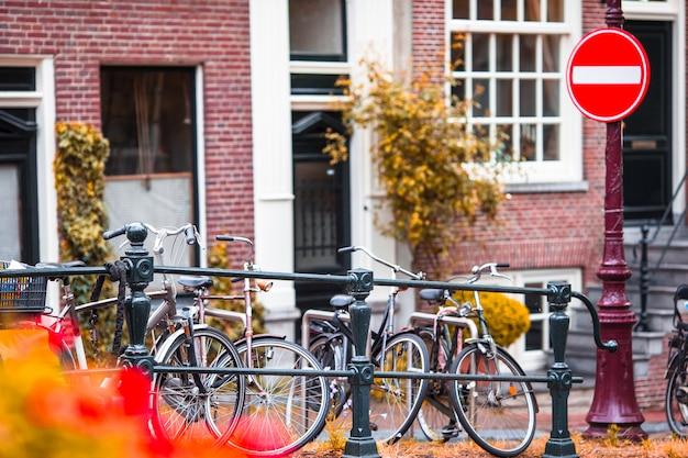Calle hermosa y casas viejas en la provincia de amsterdam, países bajos, holanda septentrional. foto al aire libre.