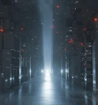 Callejón en la ciudad en poder con reflejo de luz brillante en el piso