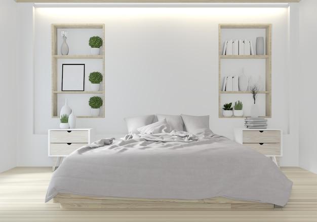 Cama blanca habitación diseño japonés