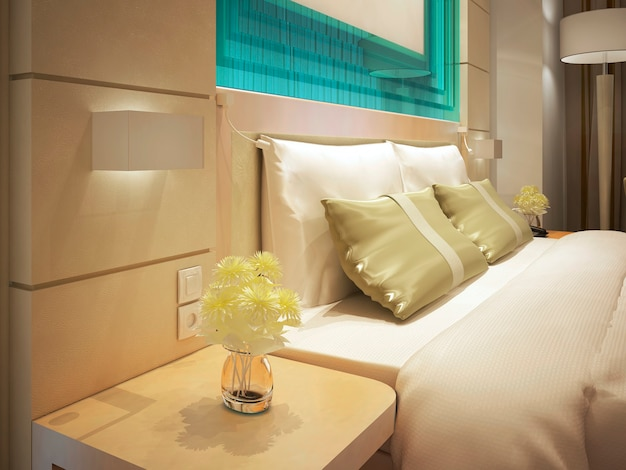 Cama king en una habitación de hotel de negocios. flores frescas en un jarrón. decoraciones de cristal turquesa. render 3d