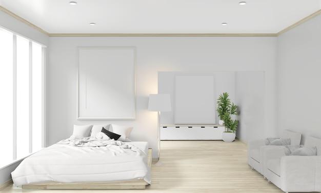 Cama de madera, marco y decoración estilo japonés en dormitorio zen de diseño minimalista. representación 3d
