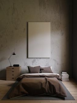 Cama marrón en una habitación oscura con paredes de concreto.