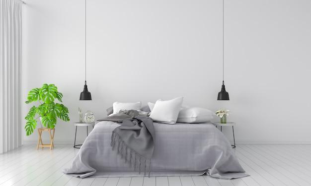 Cama y planta verde en dormitorio para maqueta.
