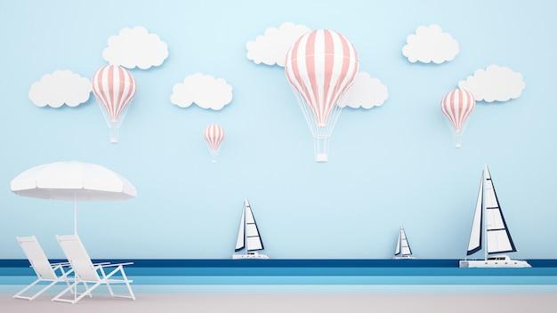 Cama de playa en la playa con velero en el mar y globos en el cielo.