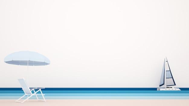 Cama de playa con sombrillas y velero en el mar.