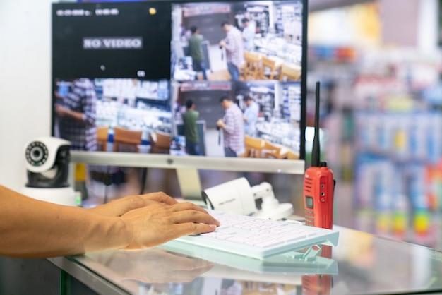 Cámara casera cctv monitor sistema de vigilancia alarma casa inteligente video teléfono vista concepto