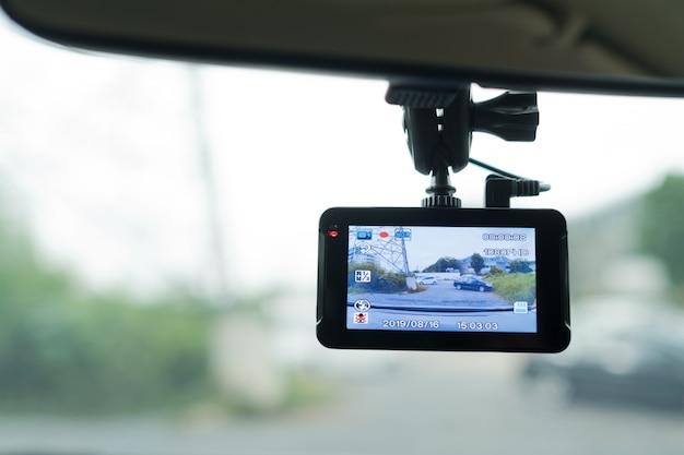 Cámara del coche, videograbadora, conducción, seguridad en carretera,