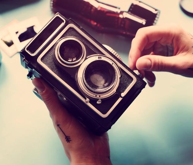 Cámara de película retro vintage