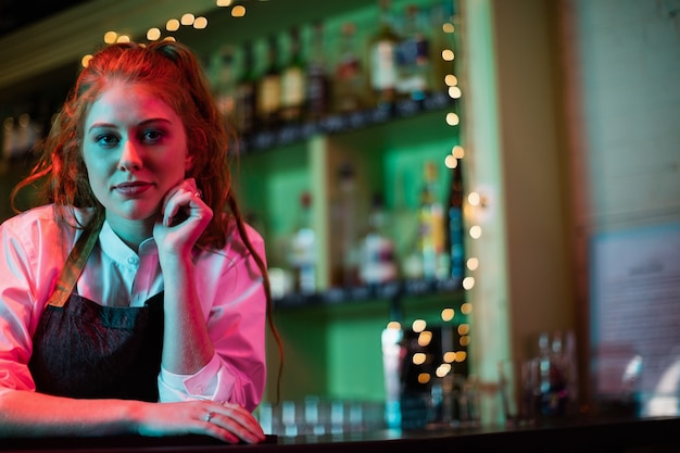 Camarero femenino apoyado en la barra del bar