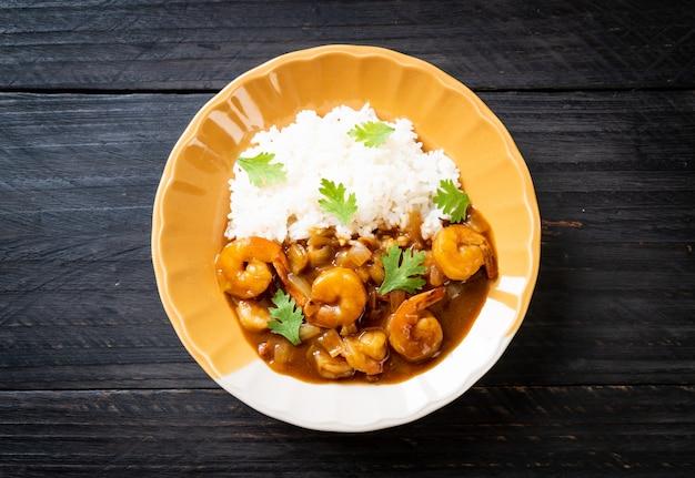 Camarones al curry con arroz