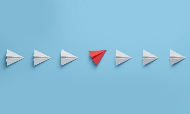 Cambie el concepto de interrupción con un avión de papel rojo entre una fila de aviones blancos. piensa diferente. representación 3d.