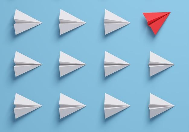 Cambie los conceptos con el avión de papel rojo entre los blancos. piensa diferente. representación 3d.