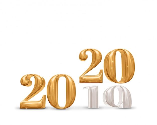 Cambio de 2019 a número de oro de año nuevo 2020 sobre fondo blanco de sala de estudio