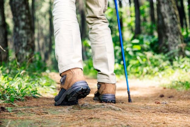 Caminante hombre con botas y bastón de trekking caminando.