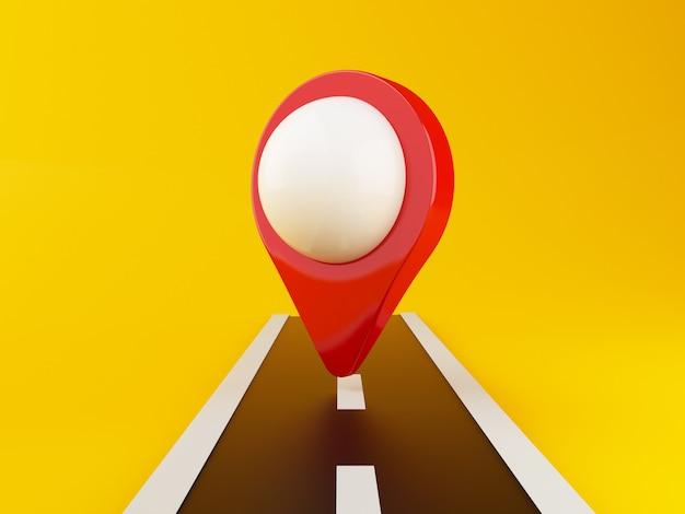 Camino 3d con puntero de mapa