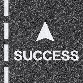 Camino al concepto de éxito con texto de éxito renderizado en 3d en la carretera de asfalto