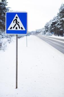 Camino de asfalto peatonal en un bosque de pinos nevados en invierno. día helado.