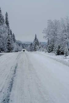 Camino en un bosque cubierto de nieve con un camión y árboles sobre un fondo borroso