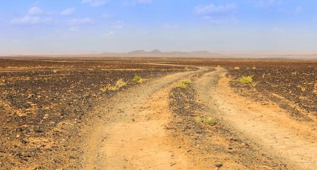 Camino en el desierto del sahara