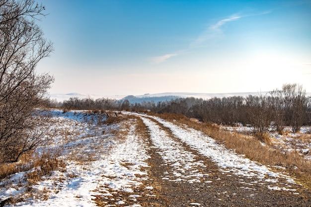 Camino de invierno que conduce al fabuloso bosque de invierno