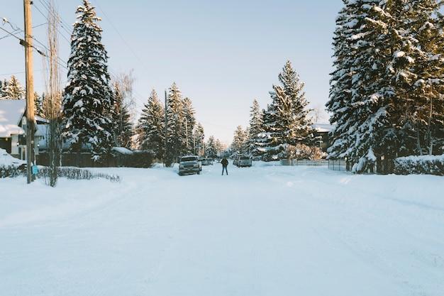 Camino nevado del pueblo en invierno