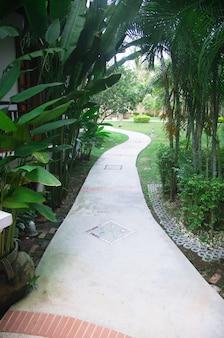 Camino de piedra de jardín con césped