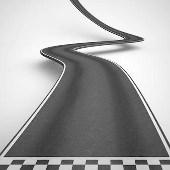 Camino sinuoso que sube para alcanzar los objetivos. representación 3d