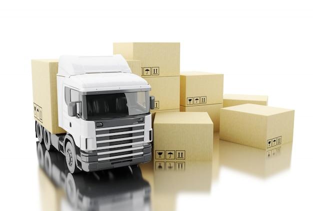 Camión 3d con cajas de cartón.