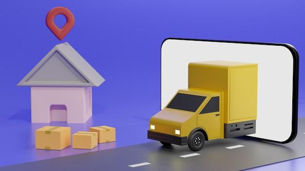 El camión amarillo en la pantalla del teléfono móvil, sobre fondo azul entrega de pedidos