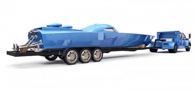 Camión azul con un remolque para transportar un barco de carreras sobre un fondo blanco.