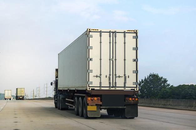 Camión blanco en carretera con contenedor