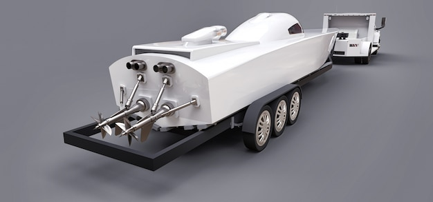 Camión blanco con un remolque para transportar un barco de carreras en un espacio gris. representación 3d