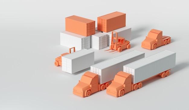 Camión contenedor 3d en el puerto de buques para el concepto de transporte y logística empresarial