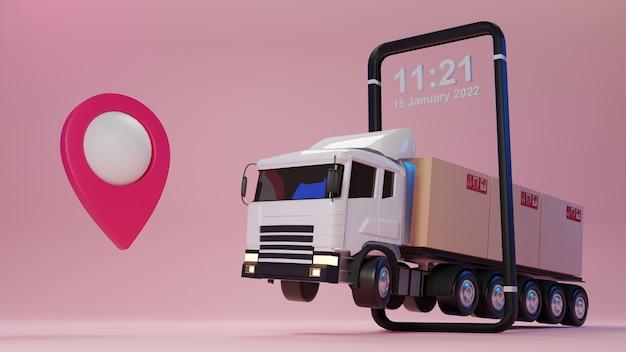 Camión de entrega 3d cargado con una caja de cartón y un teléfono inteligente con puntero de mapa concepto de servicio de entrega y envío.