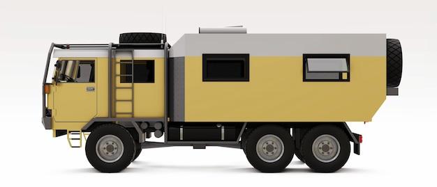 Camión grande preparado para expediciones largas y difíciles en zonas remotas. camión con casa sobre ruedas. ilustración 3d.