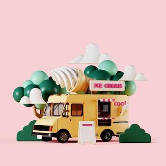 Camión de helados amarillo con jardín sobre fondo rosa
