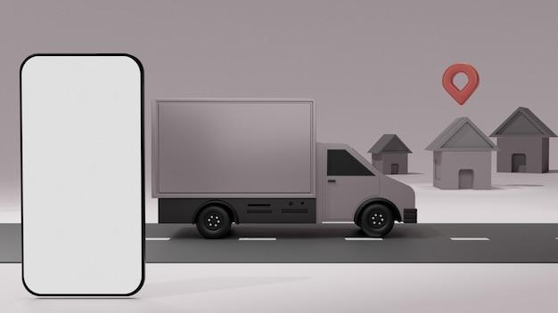 El camión con maqueta de teléfono móvil de pantalla blanca, sobre fondo gris entrega de pedidos