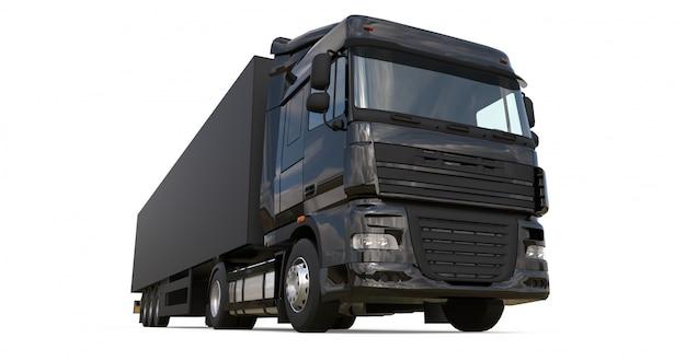 Camión negro grande con semirremolque plantilla para colocar gráficos