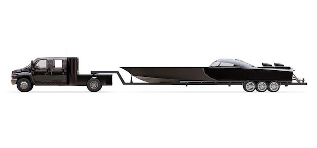 Camión negro con remolque para transportar un barco de carreras sobre un fondo blanco. representación 3d.
