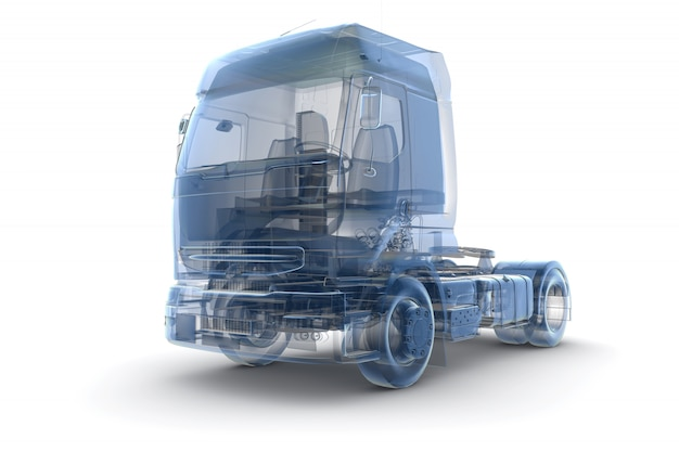 Camión de rayos x azul