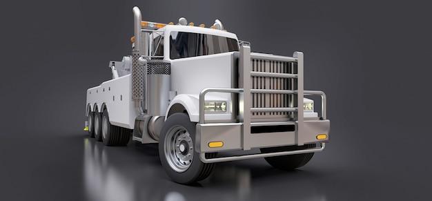 Camión de remolque de carga blanca para transportar otros grandes camiones o maquinaria pesada