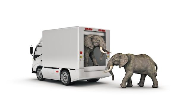 Camión de reparto blanco con una representación 3d de elefante