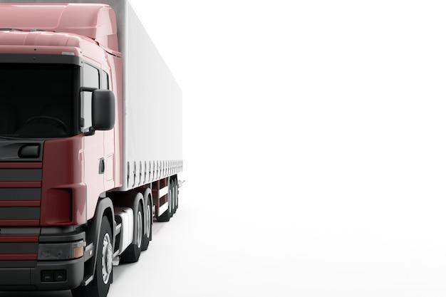 Camión de reparto comercial aislado en superficie blanca