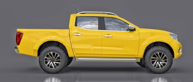 Camión de reparto de vehículos comerciales amarillo con doble cabina.