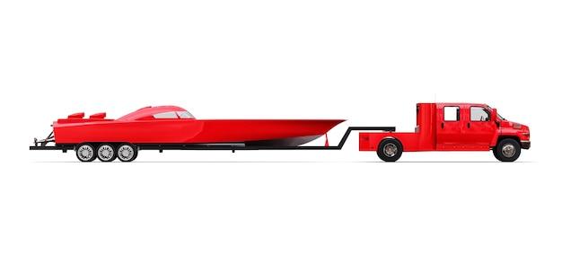 Camión rojo grande con remolque para transportar un barco de carreras sobre un fondo blanco. representación 3d.