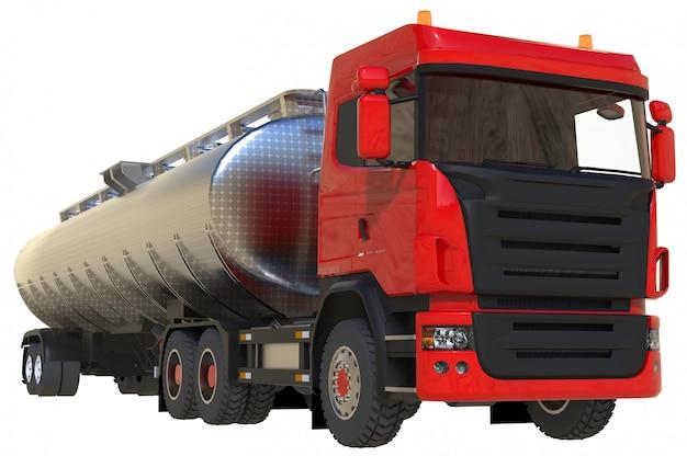 Camionero rojo grande con remolque de metal pulido.