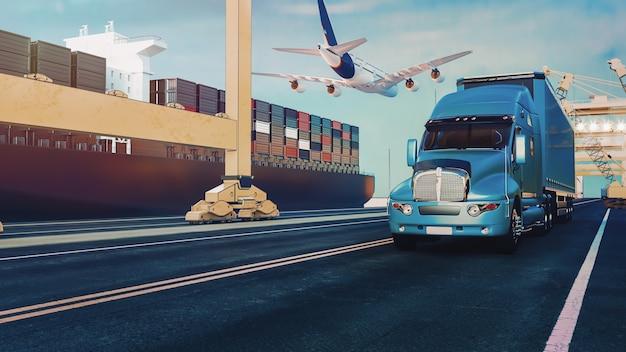 Los camiones de avión vuelan hacia el destino con los más brillantes