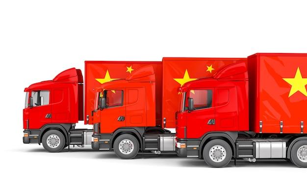 Camiones de carga con bandera china